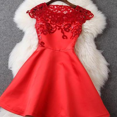 Beaded And Crochet Dress In Red GH1..