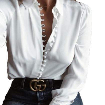 Fashion Long-Sleeved White Shirt 22..