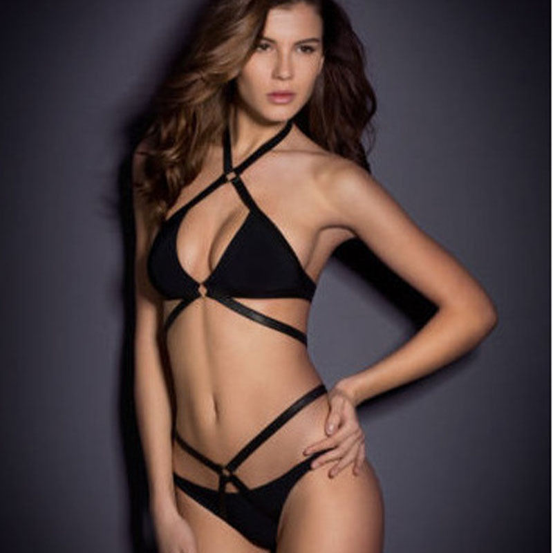 Sexy Hot Black Strappy Hollow Bandage Women Two Piece Swimsuit