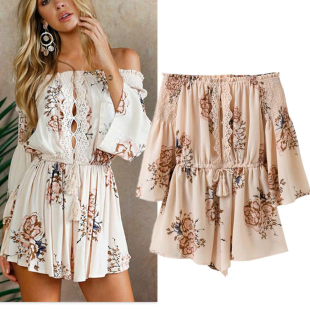 Off-the-Shoulder Floral Print Summer Romper with Bell Sleeves