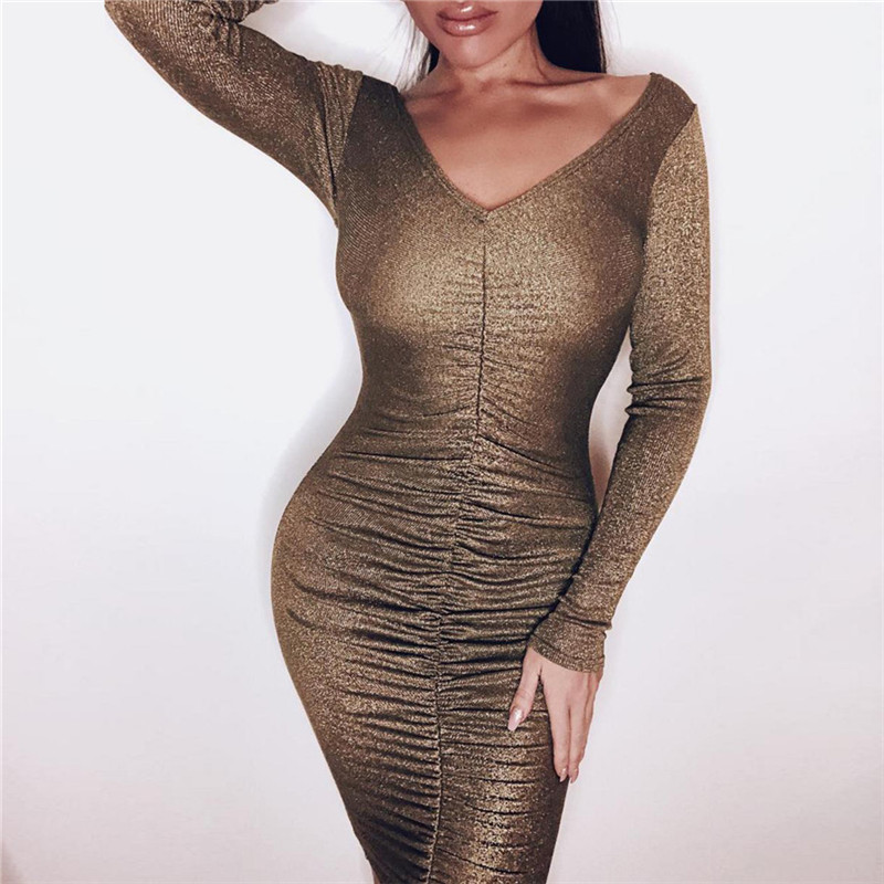 Long Sleeve V-neck Slim Bag Hip Sexy Dress