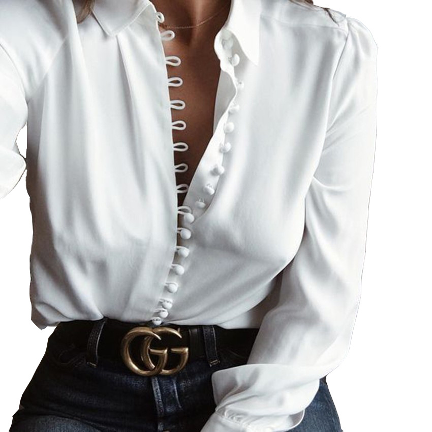 Fashion Long-Sleeved White Shirt 22703