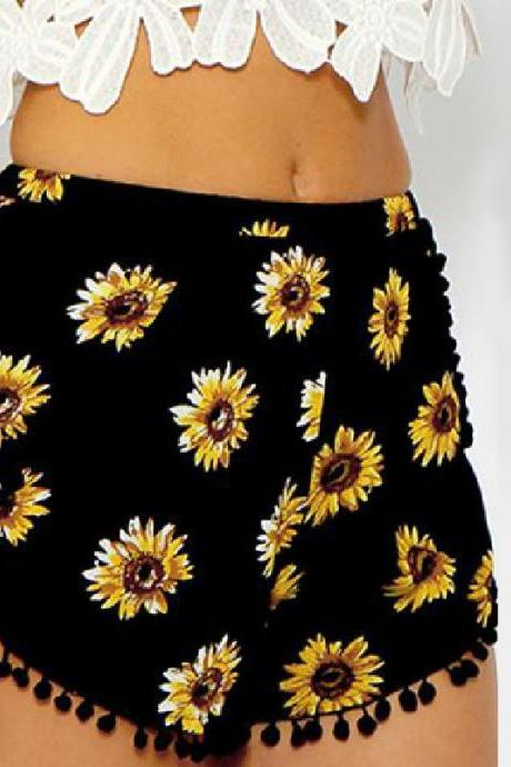 Black Sunflower Print Shorts Featuring Pom-Pom Hem