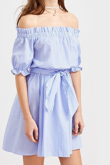 White and Blue Off Shoulder Striped Dress