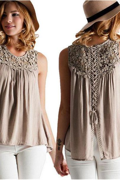 Lace and Strap Detail Sleeveless Shirt