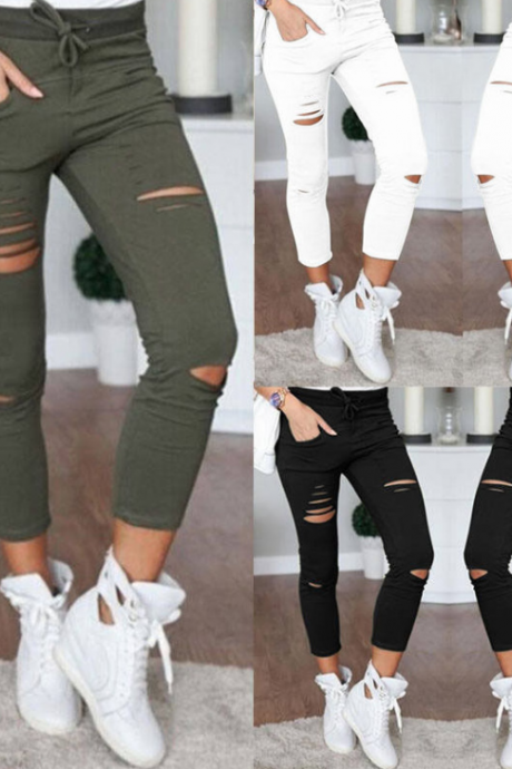 Women Denim Pants Holes Destroyed Knee Pencil Pants