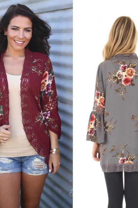 Floral Print Flare Sleeve Cut Out Kimono Cardigan with Open Front