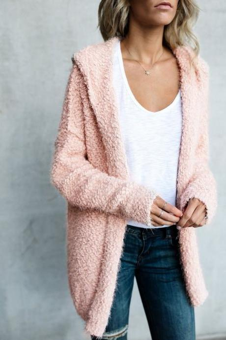 Women Solid Color Long-Sleeved Cardigan Jacket