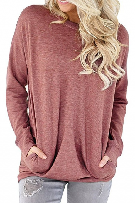 Red Crew Neck Long Cuffed Sleeves Pullover