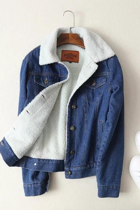 2018 Winter Women Fur Denim Jacket Bomber Vintage Jacket Blue Jean Coat With Full Warm Lining & Front Button Flap Pocket Outwear