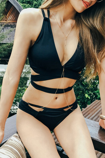 Fashion Sexy Black V-Neck Triangle Bikini Swimsuit