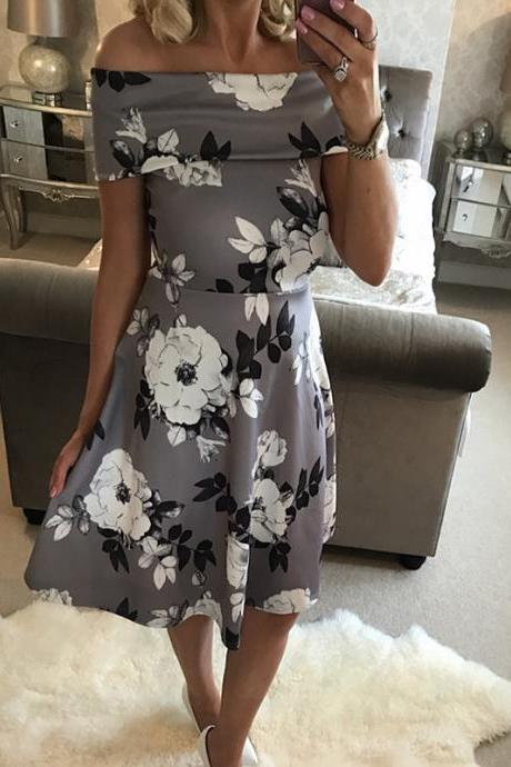Off-the-Shoulder Floral Print A-line Short Dress