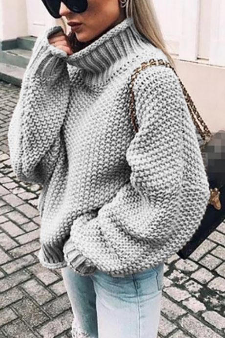 Solid Color Long Sleeve High Neck Bat Sleeve Knit Sweater