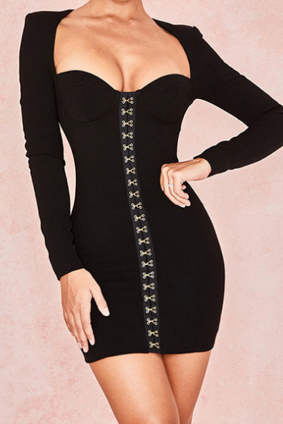 Sexy Long Sleeves High Waist Hip Dress