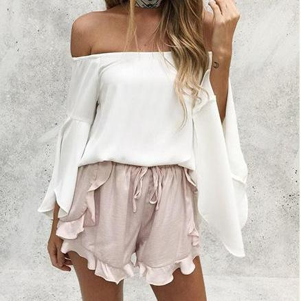 White Chiffon Off Shoulder Top with Flare Long Sleeves