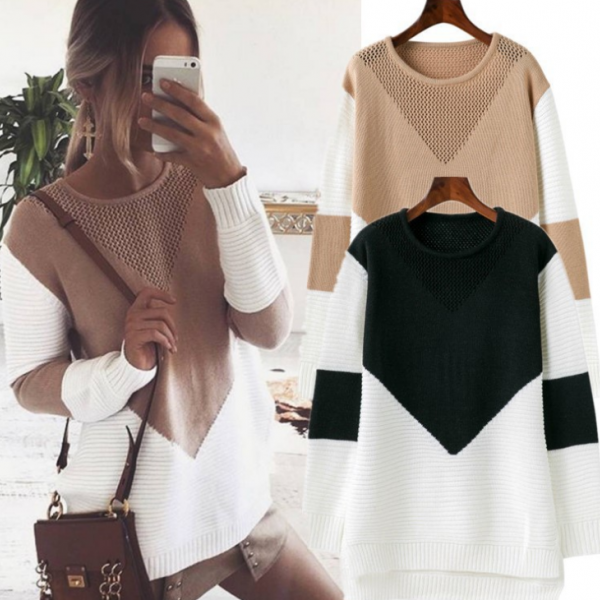 Long Sleeve Knit Tops Winter Hot Sale Patchwork Pullover Sweater