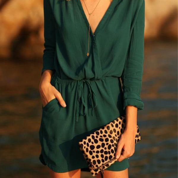 Long Sleeve Sexy V-neck Waistband One Piece Dress