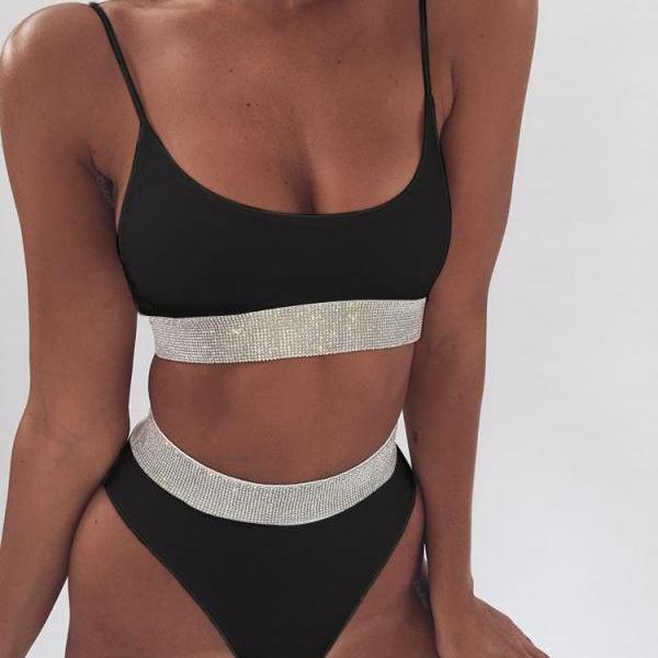 Fashion Ladies Pure Color Shiny Sequins High Waist Two Piece Bikini Swimsuit Bathing Black