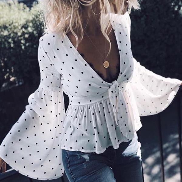 Fashion Sexy V-Neck Long-Sleeved Shirt