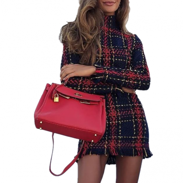 Women'S Plaid Striped Long Sleeve Dress