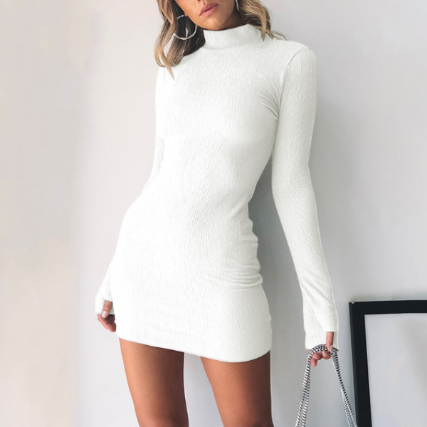 High-Necked Long-Sleeved Dress