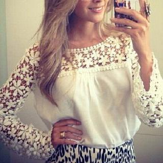 Lace Long-Sleeved T-Shirt