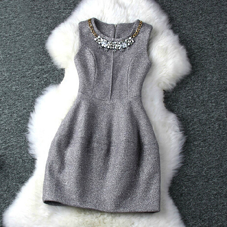 Round Neck Sleeveless Vest Dress