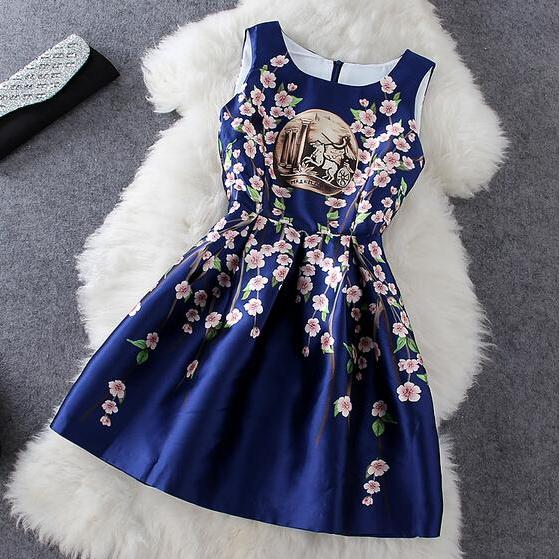 Fashion Sleeveless Print Dress