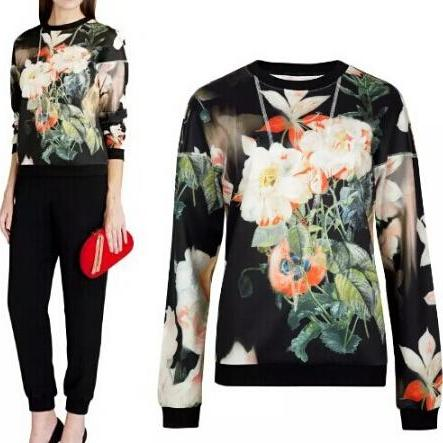 Loose round neck printing long-sleeved sweater BVP51807RE