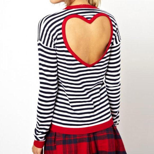 round neck Striped long-sleeved T-shirt BF51808TH