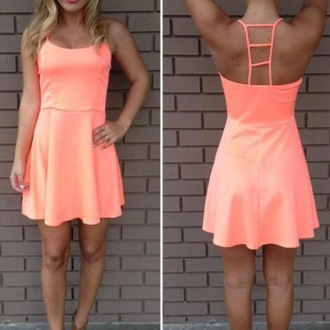Orange Sleeveless Sexy Dress JT8310MN