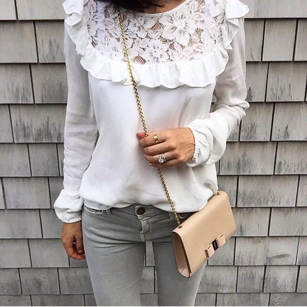 White Long-Sleeved Lace Shirt DS22402SA